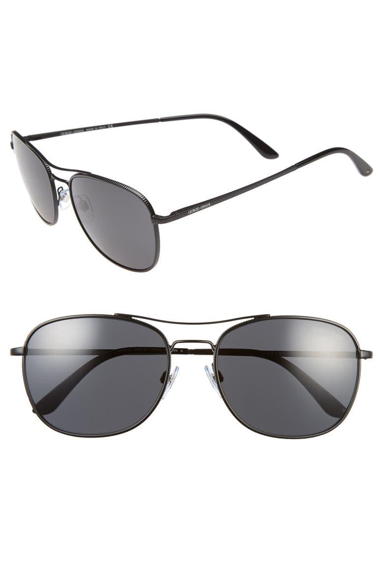 GIORGIO ARMANI 'Frames of Life' 57mm Sunglasses, Main, color, 001
