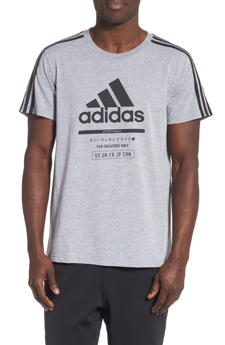 ADIDAS Classic International Regular Fit T-Shirt, Main, color, MEDIUM GREY HEATHER