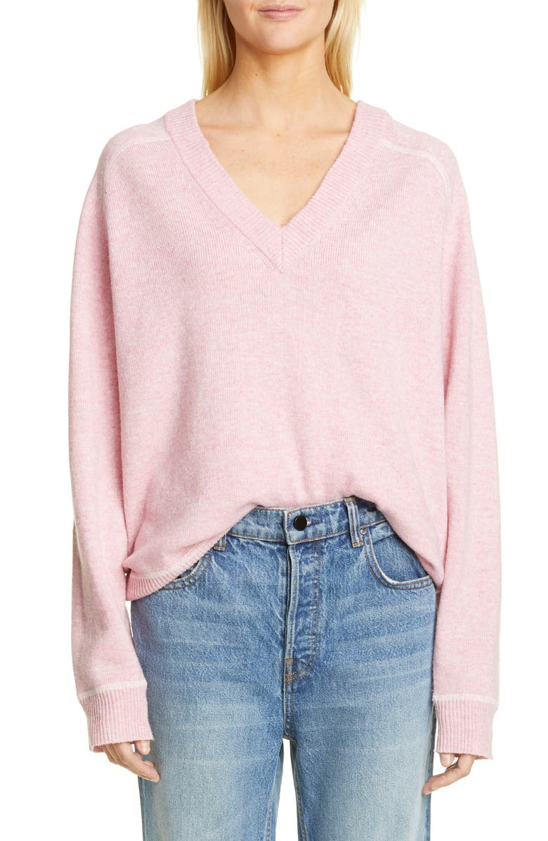 GANNI Relaxed V-Neck Sweater, Main, color, CANDY PINK