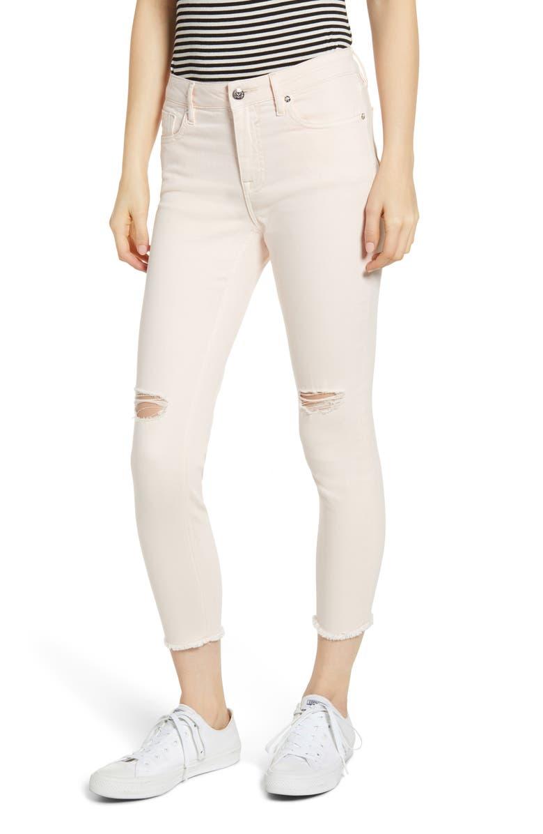 VIGOSS Marley Ripped Super Skinny Jeans, Main, color, BLUSH