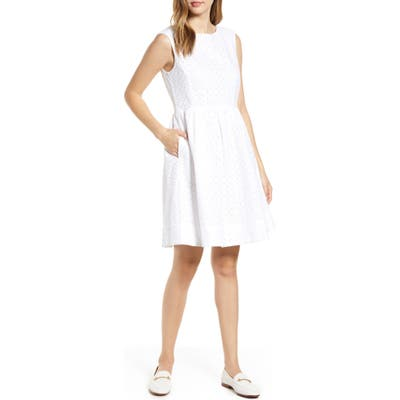 Petite 1901 Eyelet Fit & Flare Dress, White