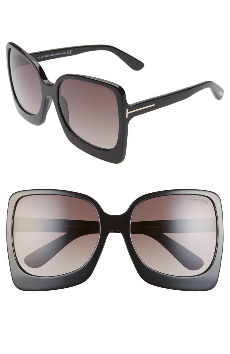 TOM FORD Emanuella RX-able 60mm Square Sunglasses, Main, color, 001