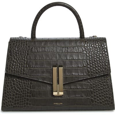 Demellier Montreal Croc Embossed Leather Top Handle Bag - Green