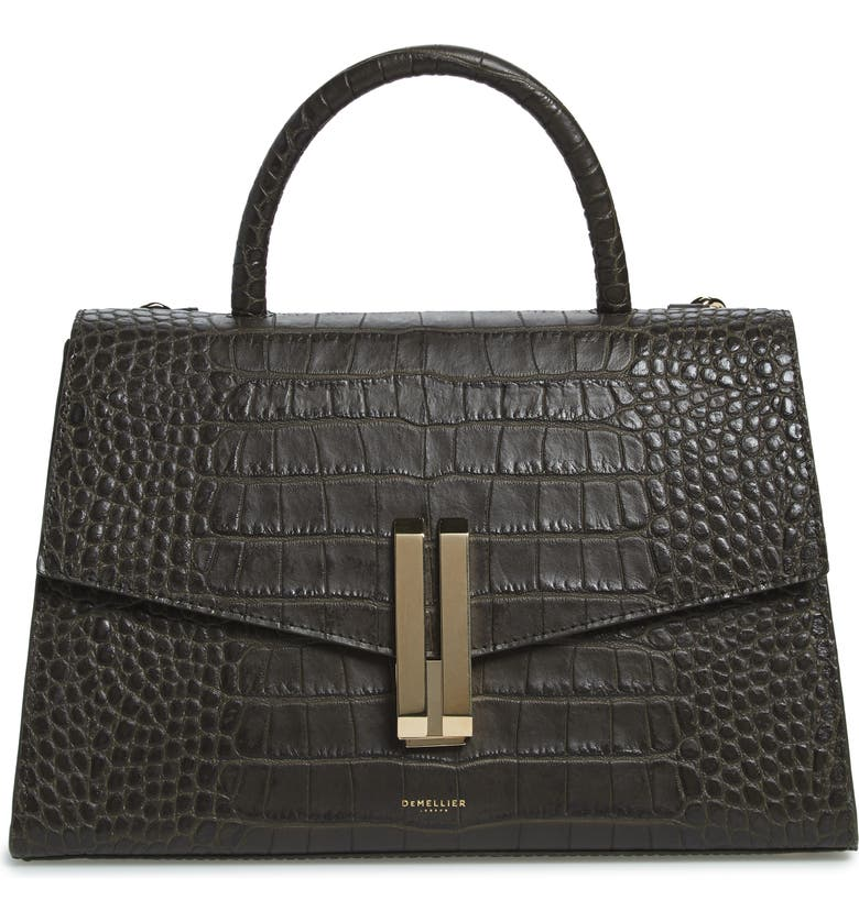 DEMELLIER Montreal Croc Embossed Leather Top Handle Bag, Main, color, OLIVE CROC EFFECT