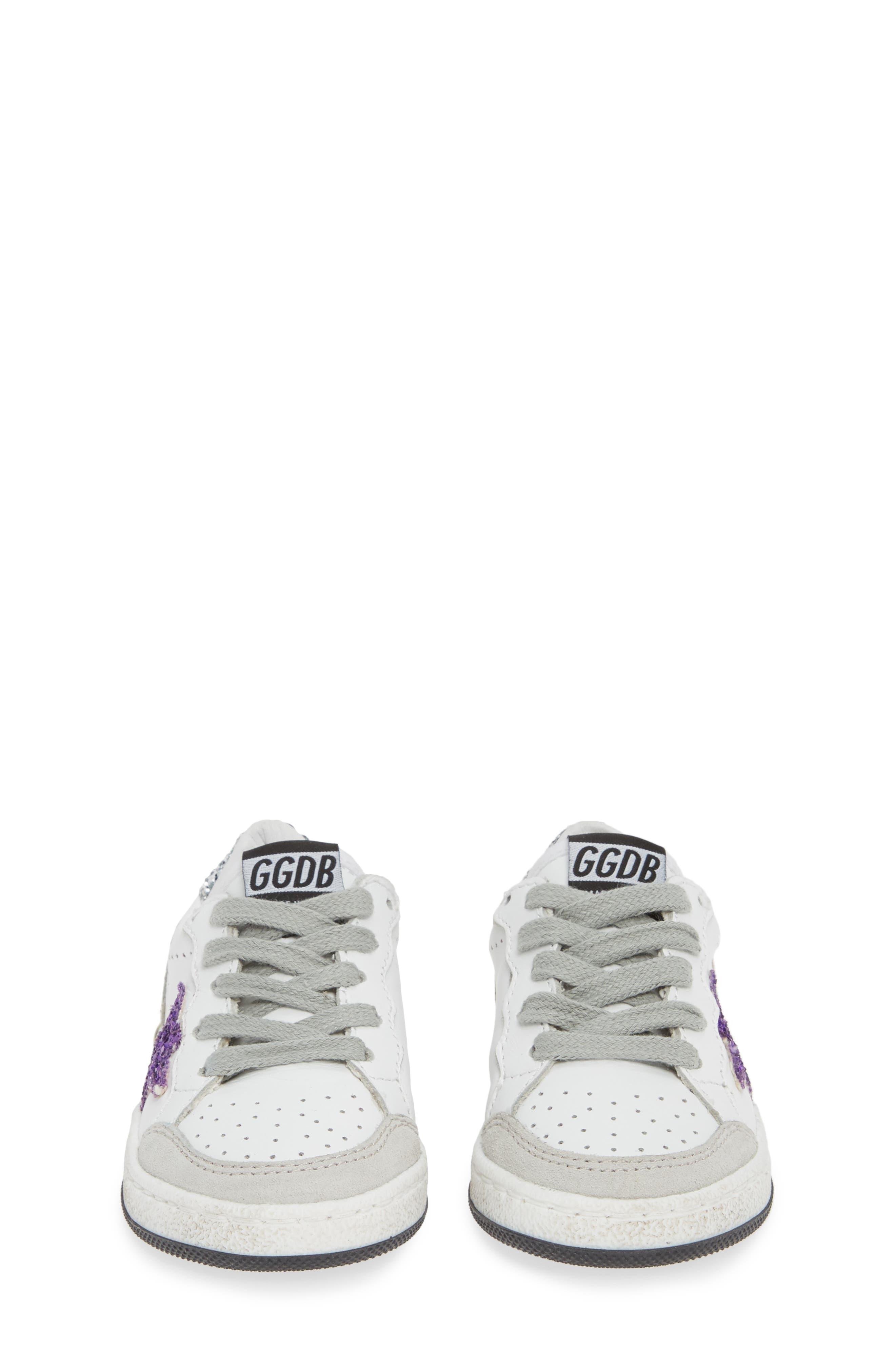 ,                             Ball Star Glitter Sneaker,                             Alternate thumbnail 5, color,                             WHITE LEATHER/ PURPLE GLITTER