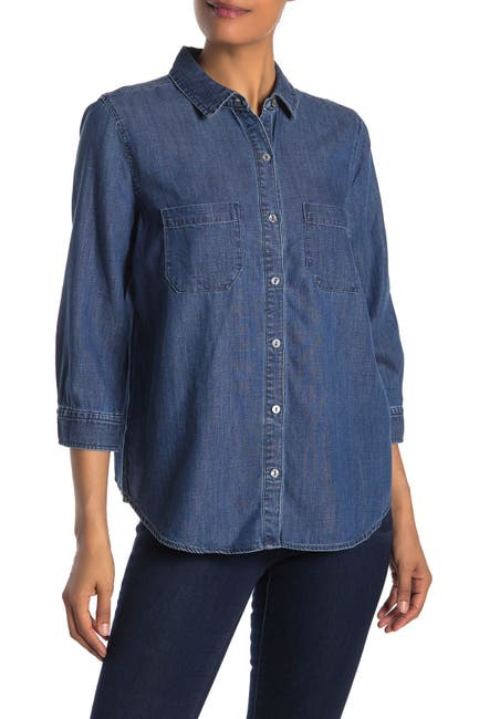 Image of Liverpool Jeans Co Denim 3/4 Sleeve Tulip Shirt