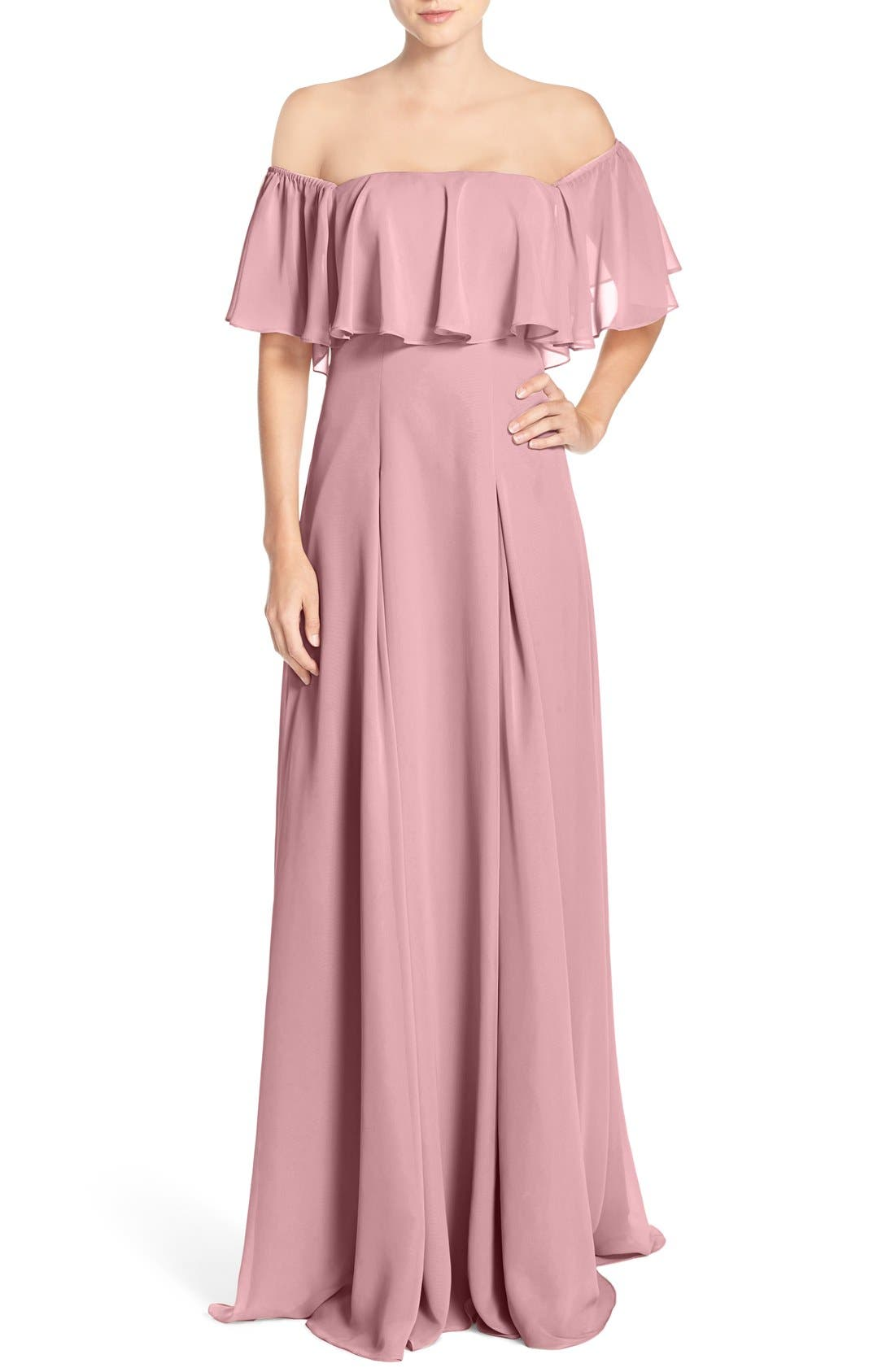,                             Off the Shoulder Chiffon Gown,                             Main thumbnail 8, color,                             683