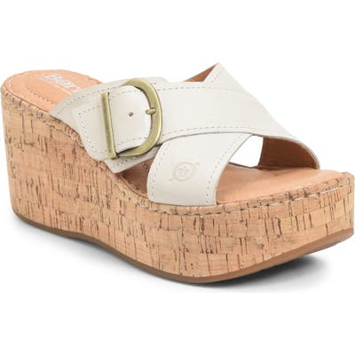 B?rn Devona Platform Wedge Sandal, White
