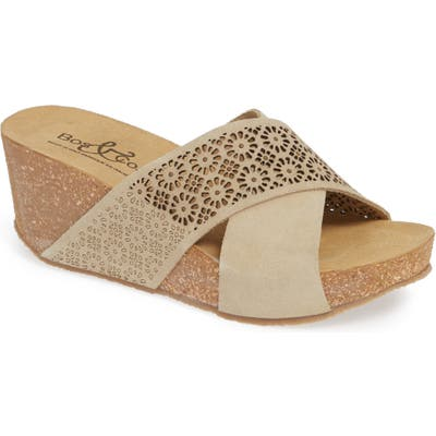 Bos. & Co. Lomi Platform Wedge Slide Sandal, Beige