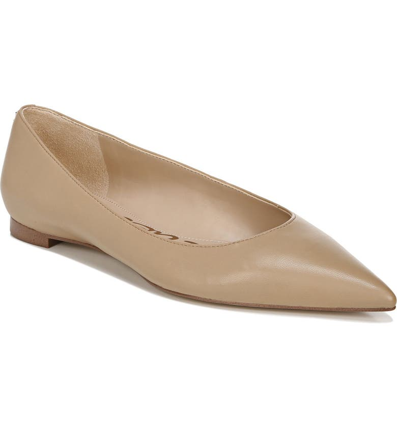 SAM EDELMAN Stacey Pointed Toe Flat, Main, color, NUDE LEATHER
