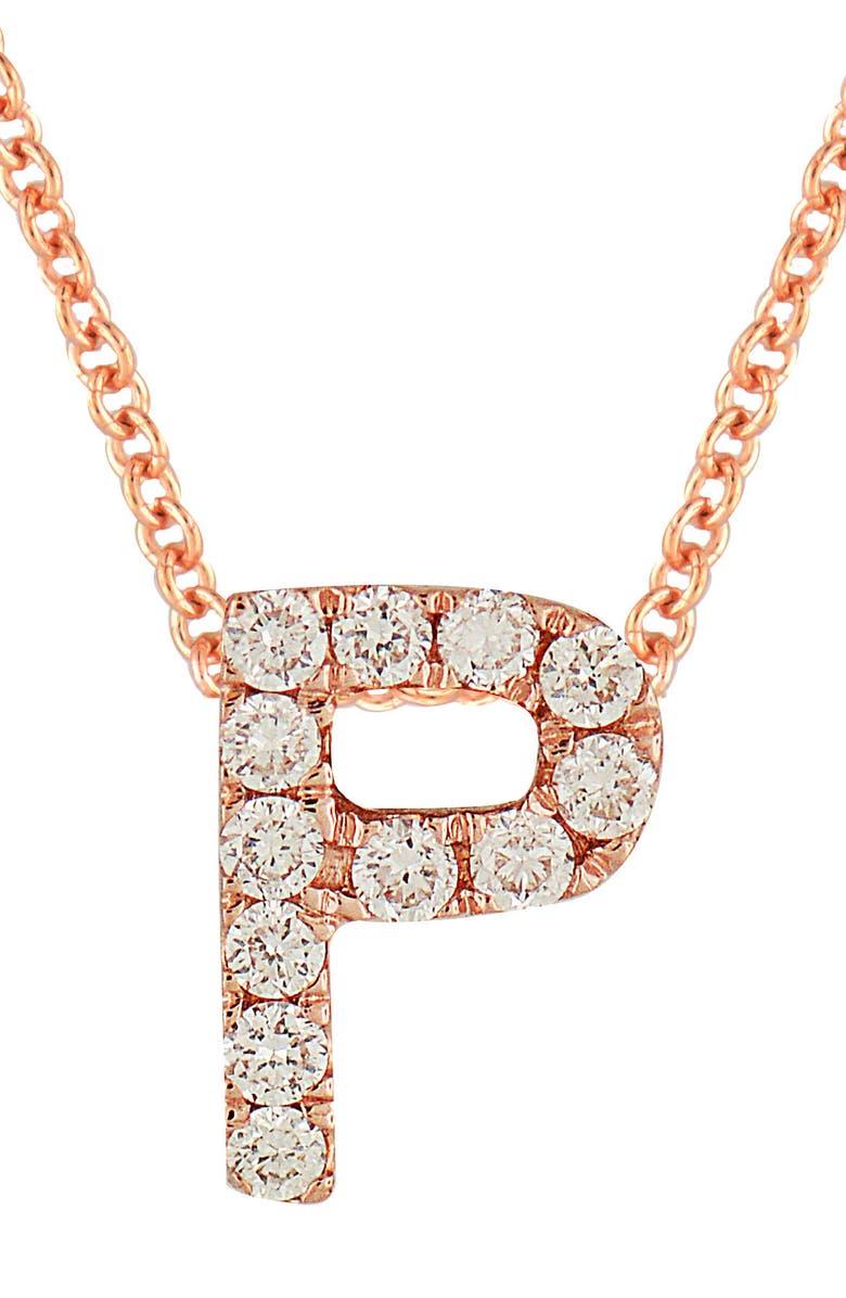 BONY LEVY 18k Gold Pavé Diamond Initial Pendant Necklace, Main, color, ROSE GOLD - P
