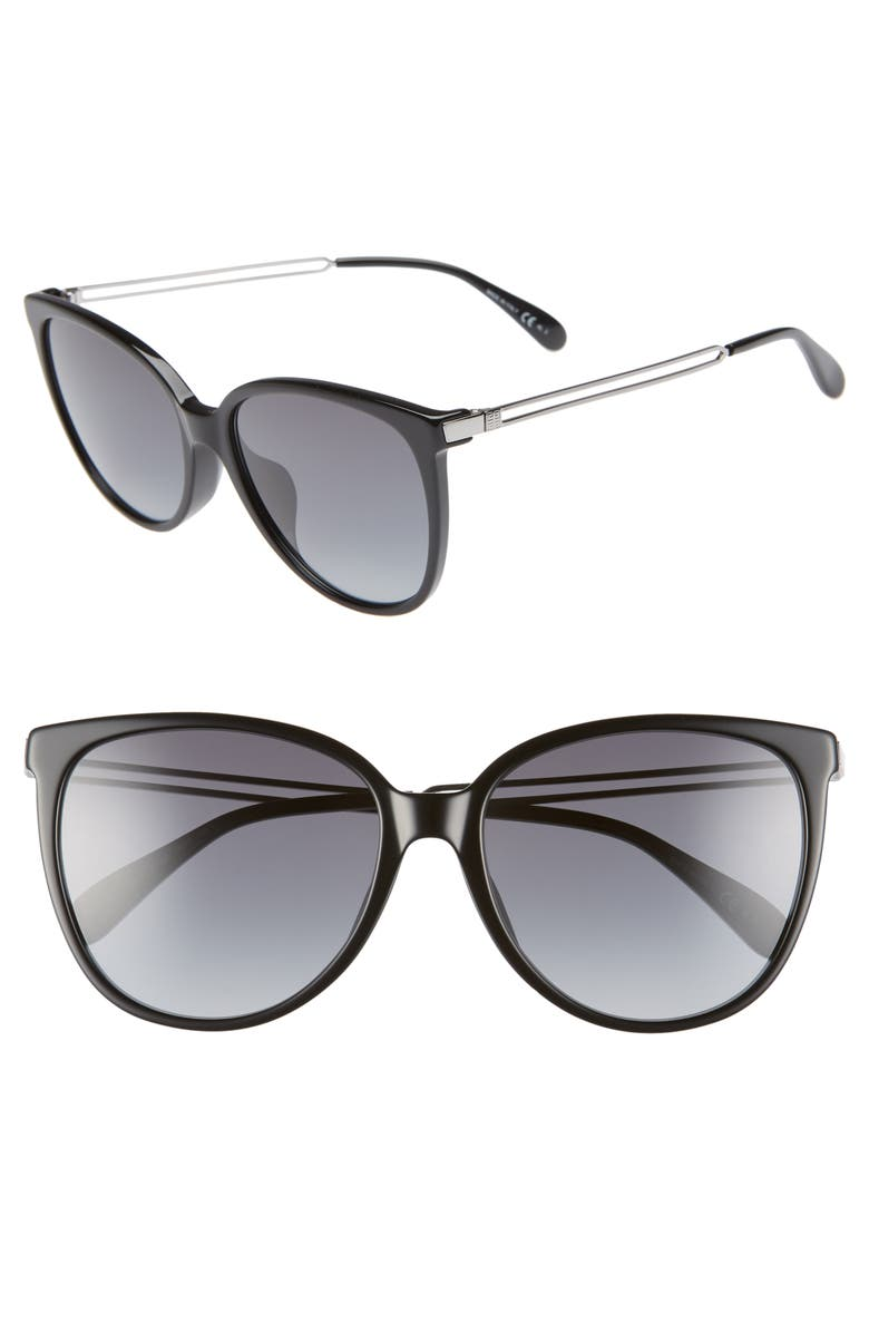 GIVENCHY 57mm Sunglasses, Main, color, 001