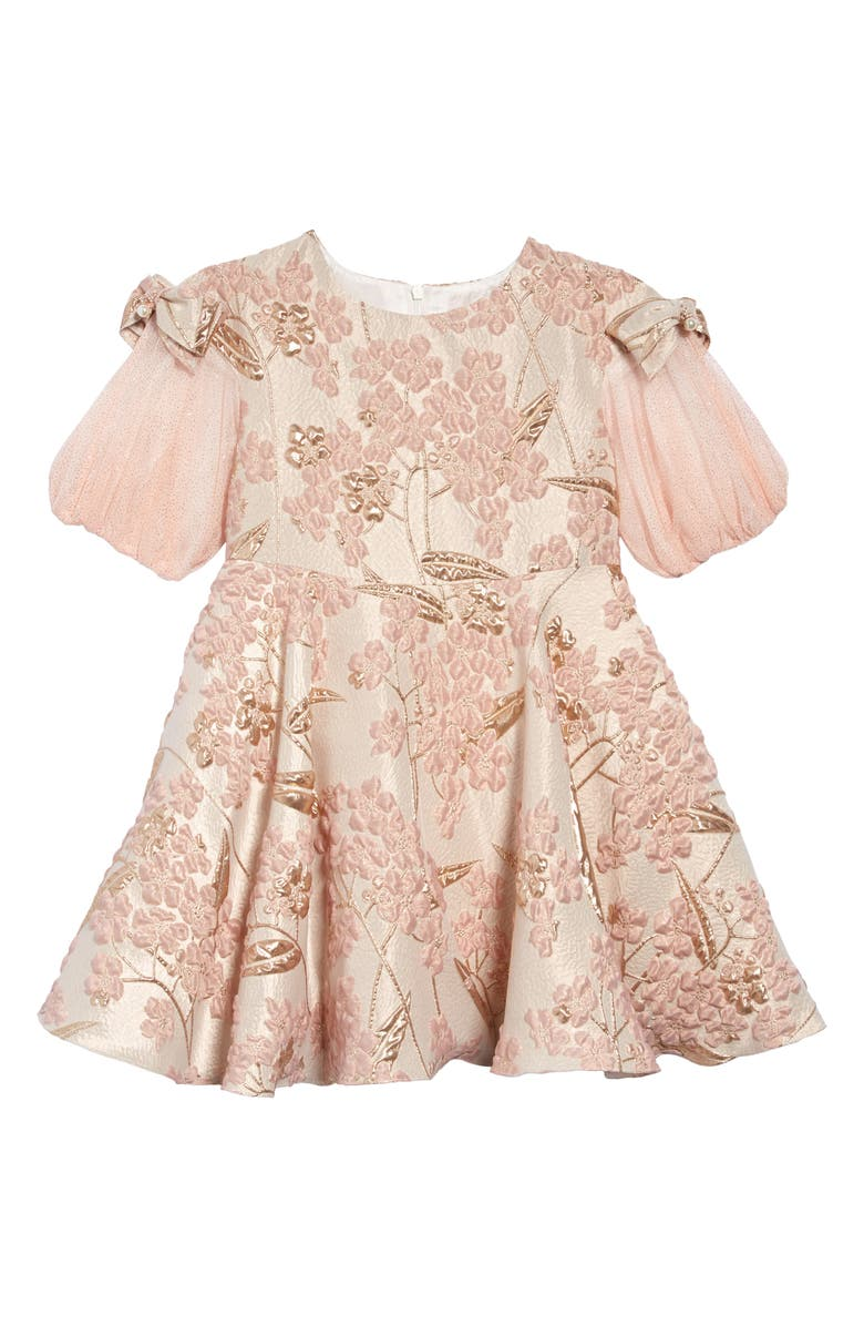 DAVID CHARLES Brocade Glitter Dress, Main, color, PINK/ GOLD