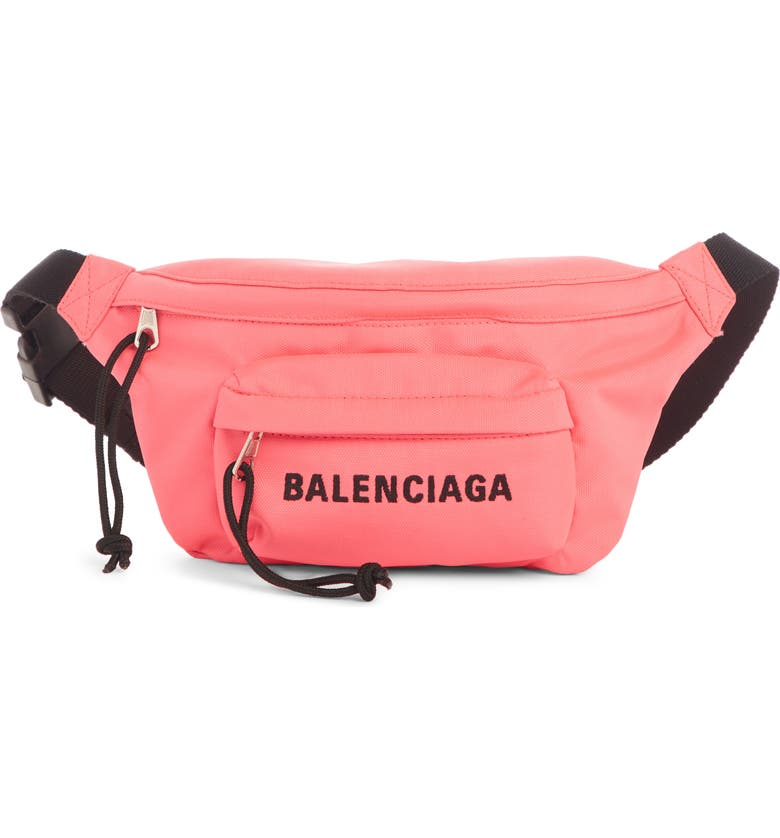 BALENCIAGA Logo Canvas Belt Bag, Main, color, ACID PINK