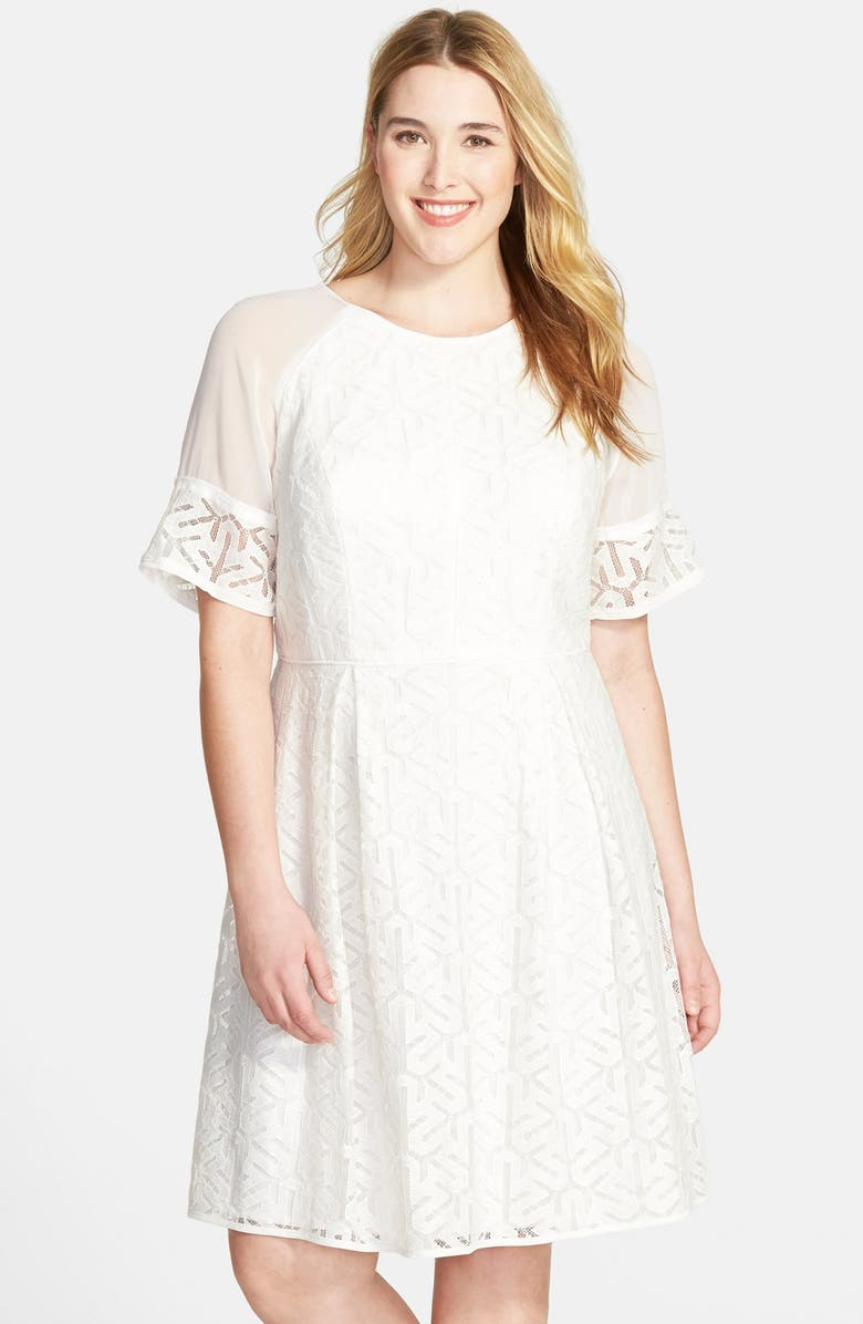 Adrianna Papell Piped Waist Lace Fit & Flare Dress (Plus ...