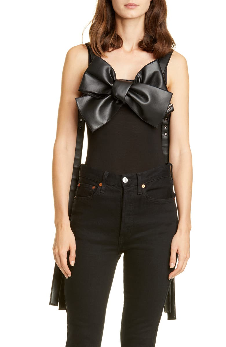 NOIR KEI NINOMIYA Bow Front Faux Leather Harness, Main, color, 001