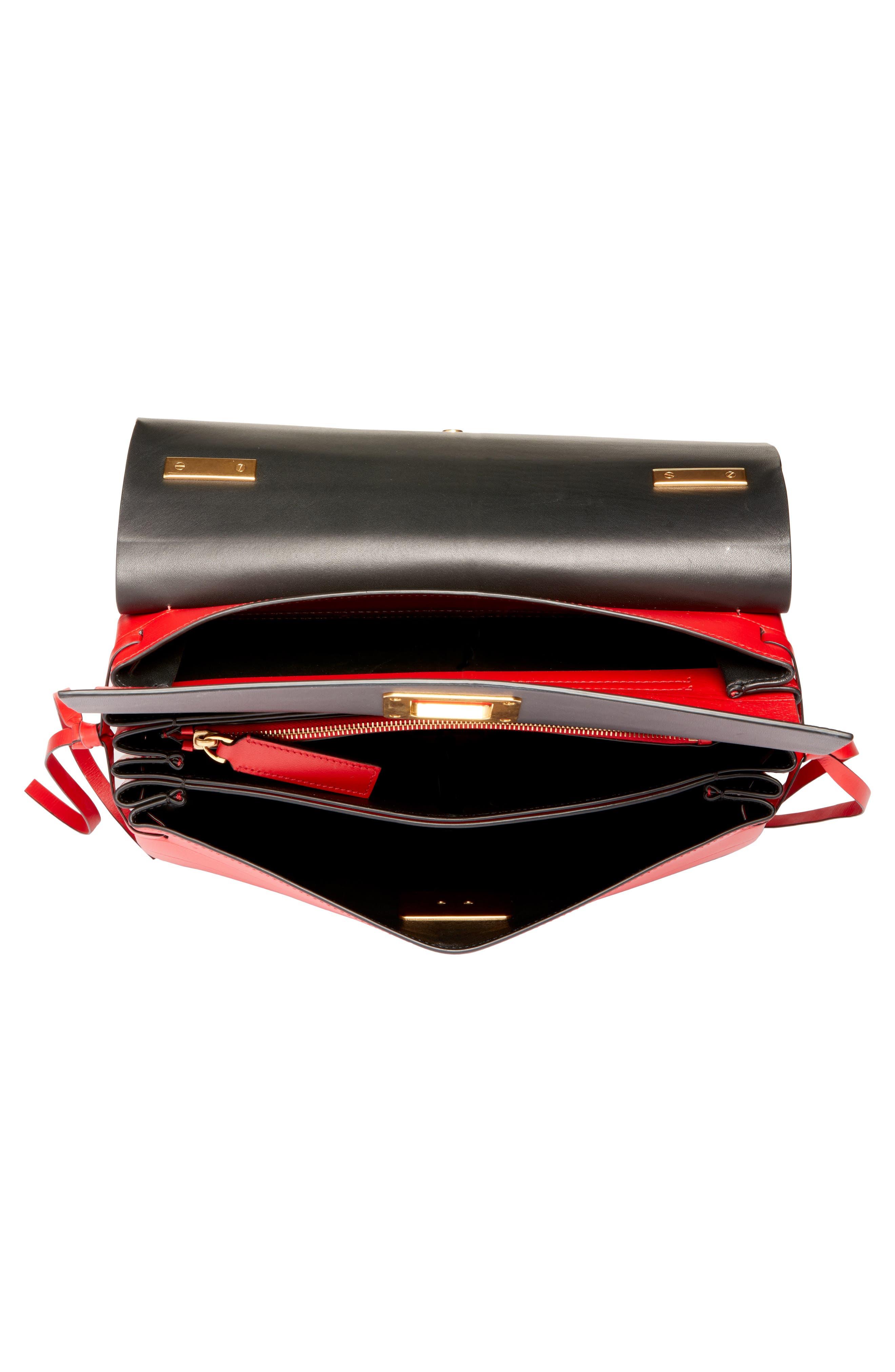 ,                             Medium V-Ring Leather Shoulder Bag,                             Alternate thumbnail 4, color,                             ROUGE PUR