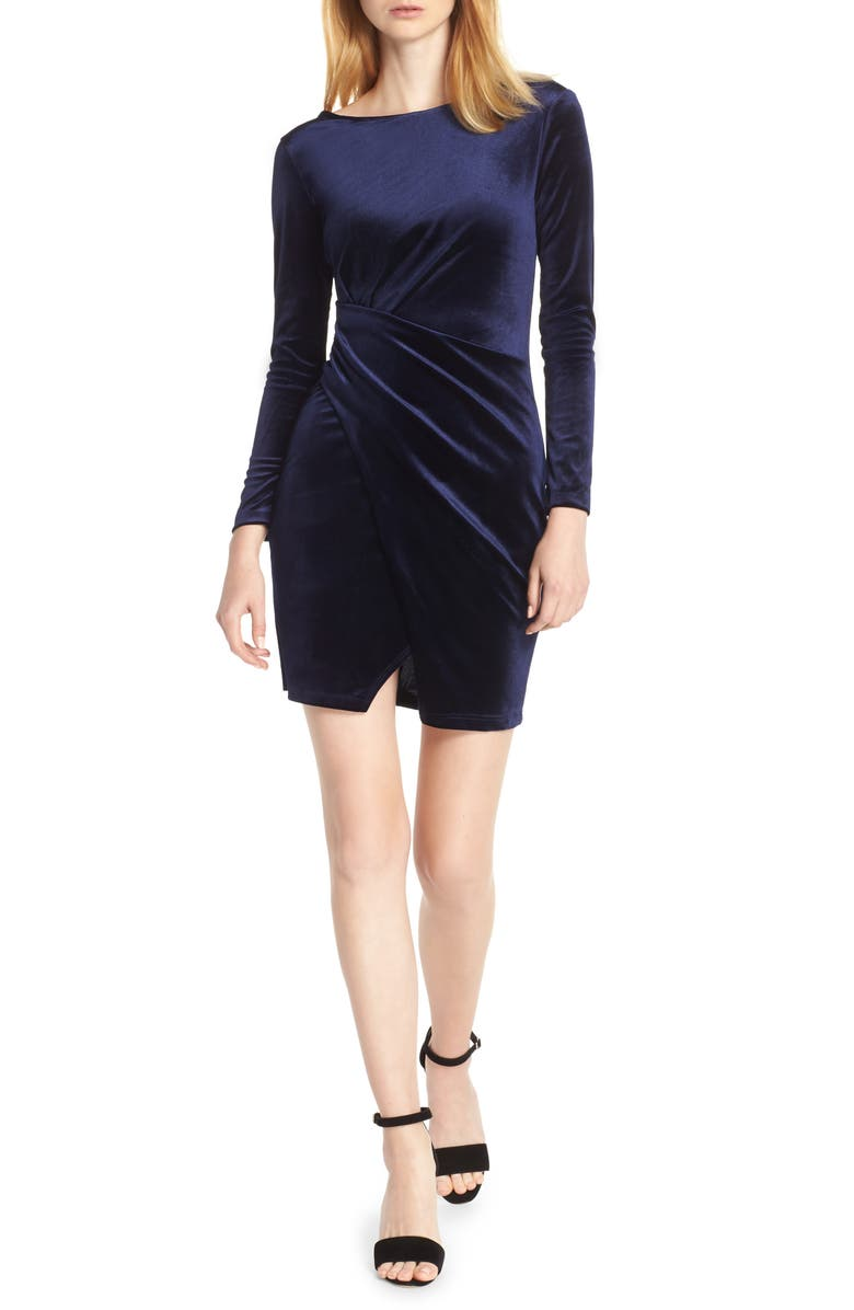 FRAICHE BY J Velvet Minidress, Main, color, ROYAL