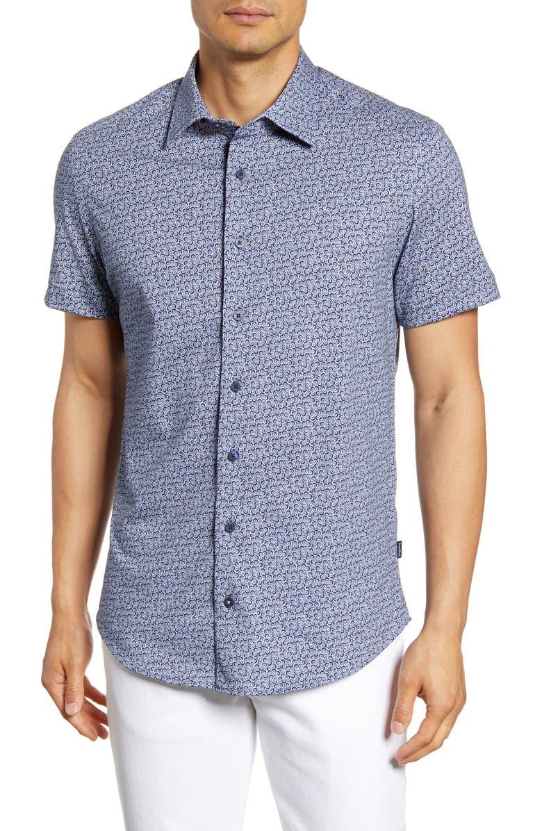 STONE ROSE Regular Fit Dot Print Short Sleeve Button-Up Shirt, Main, color, NAVY