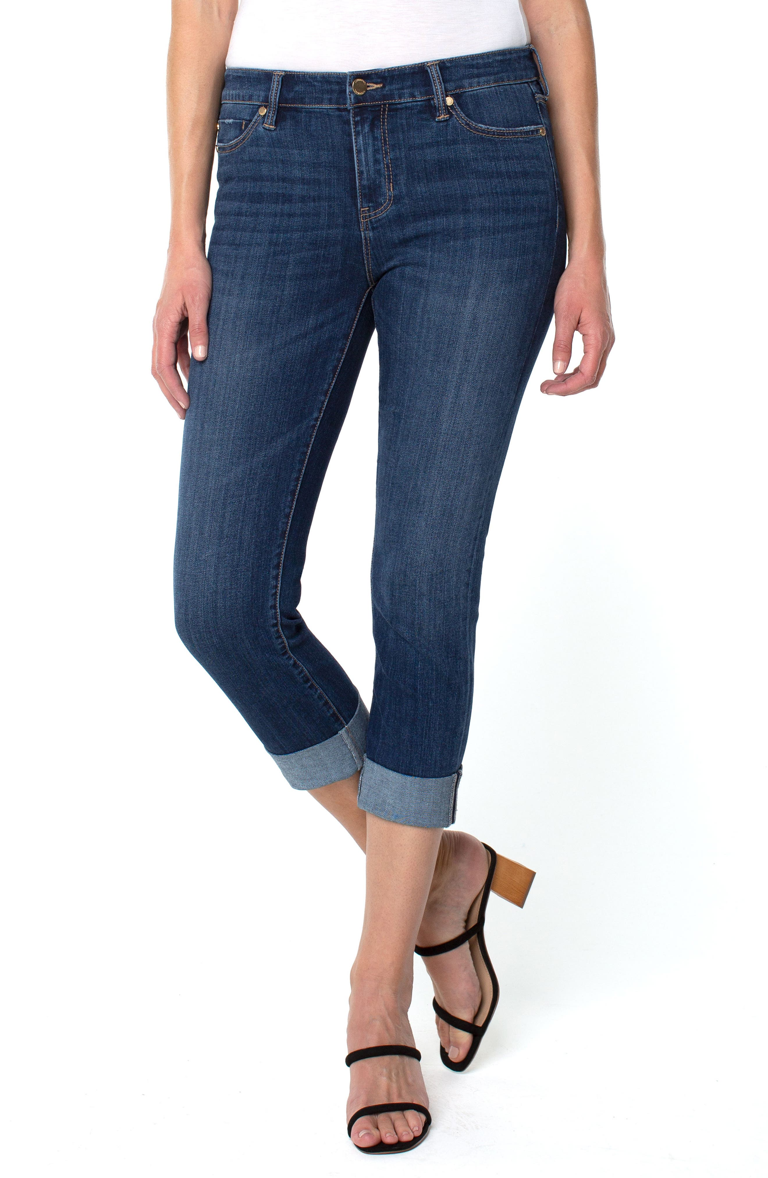 Wide Cuff Capri Jeans