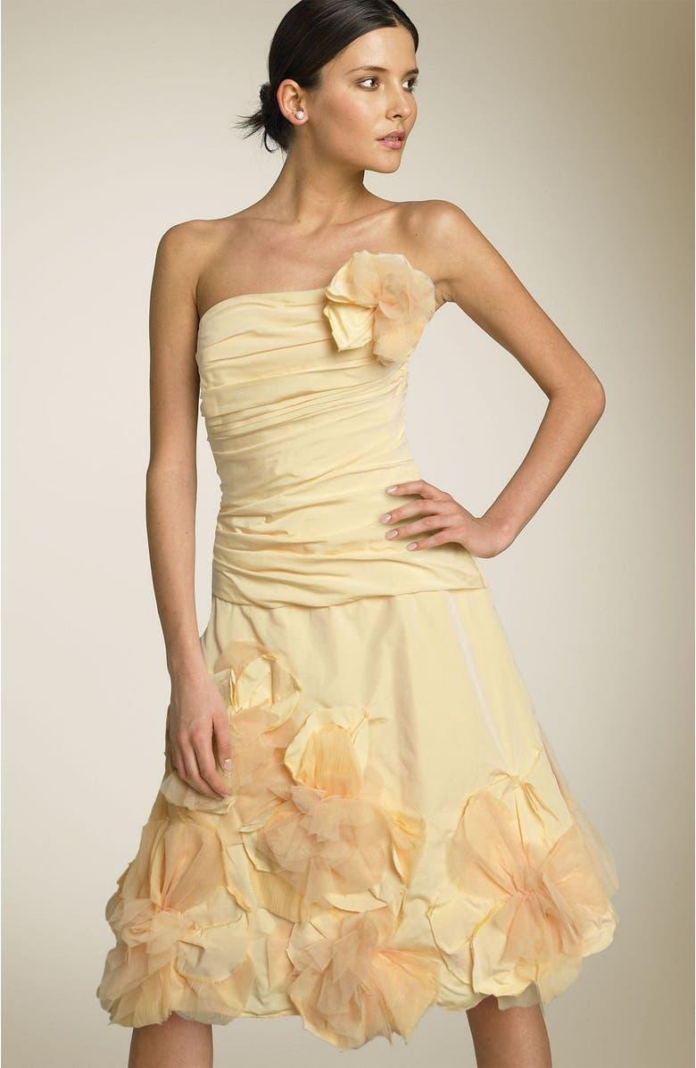 BCBGMAXAZRIA Strapless Appliqué Dress, Main, color, 723