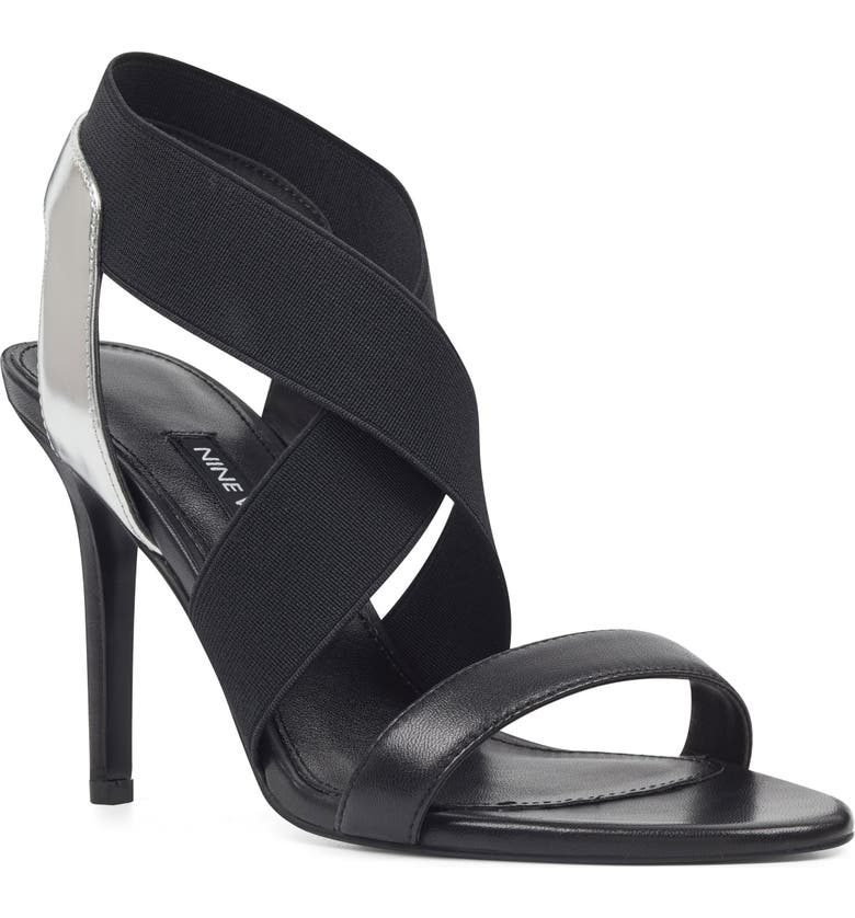 NINE WEST Maya Strappy Slingback Sandal, Main, color, BLACK/ SILVER MULTI