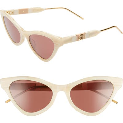 Gucci 55mm Cat Eye Sunglasses - Beige/ Brown Solid