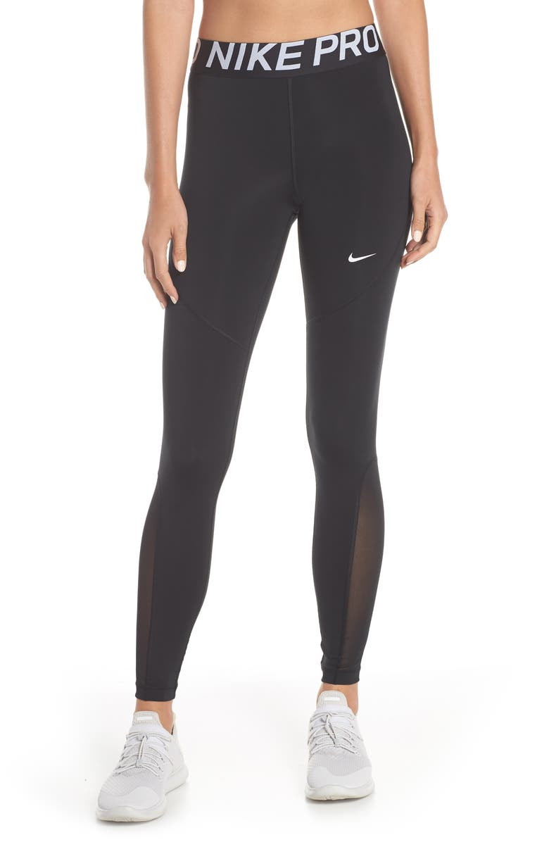 NIKE Pro Mesh Logo Tights, Main, color, BLACK/ WHITE