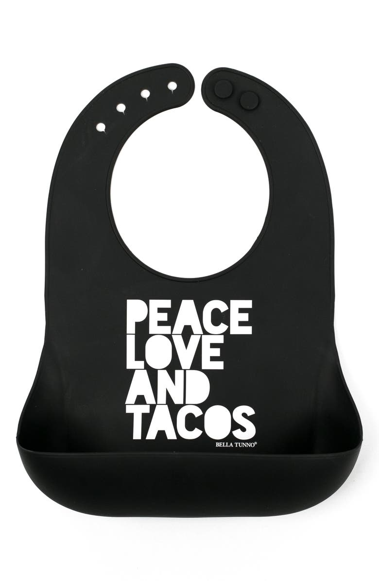 BELLA TUNNO Peace, Love & Tacos Wonder Bib, Main, color, BLACK
