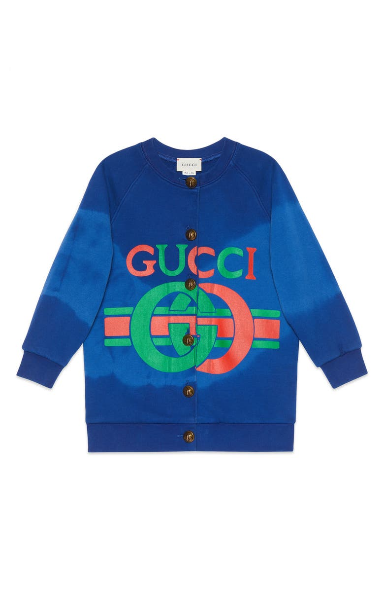 GUCCI Logo Graphic Cardigan, Main, color, AZURE