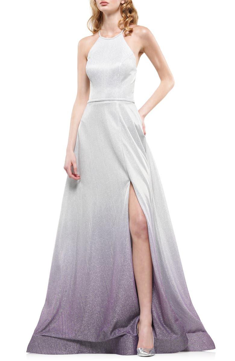 COLORS DRESS Ombré Glitter Halter Neck Gown, Main, color, SILVER/ PURPLE