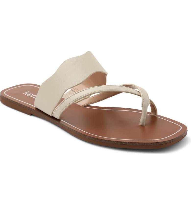 KENSIE Novah Slide Sandal, Main, color, OFF WHITE FAUX LEATHER