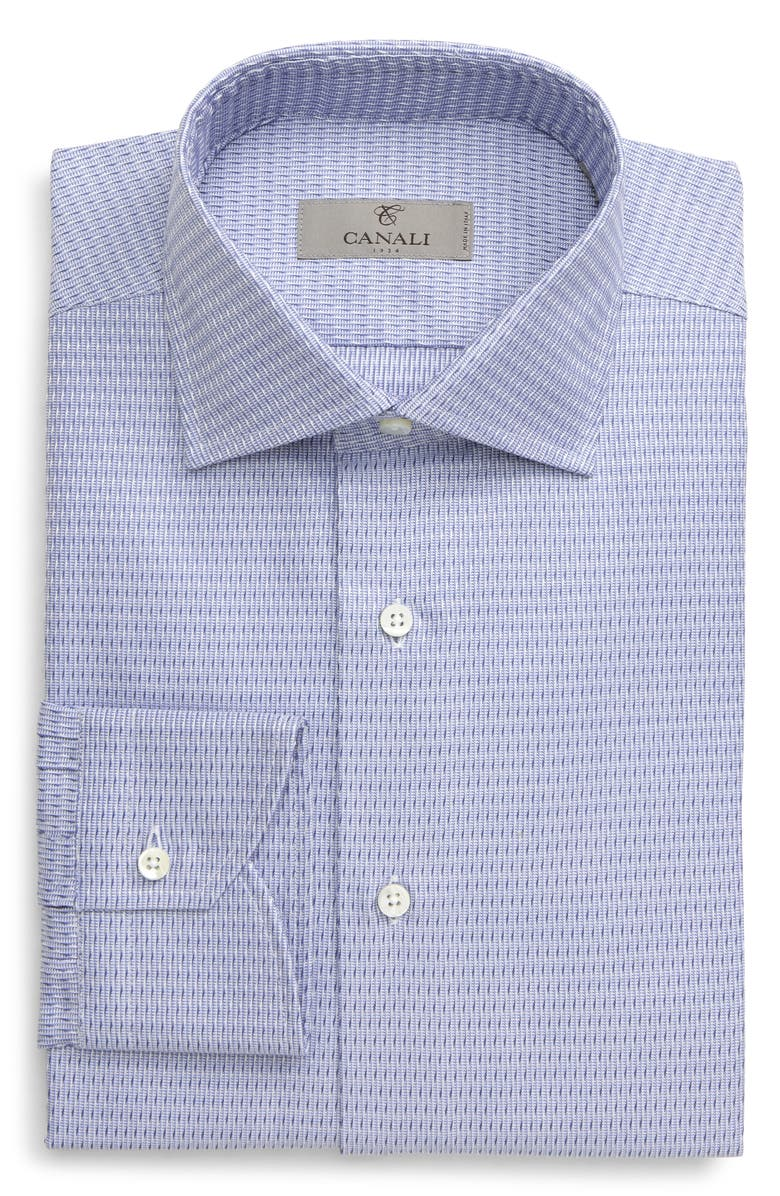 CANALI Regular Fit Geometric Dress Shirt, Main, color, BLUE