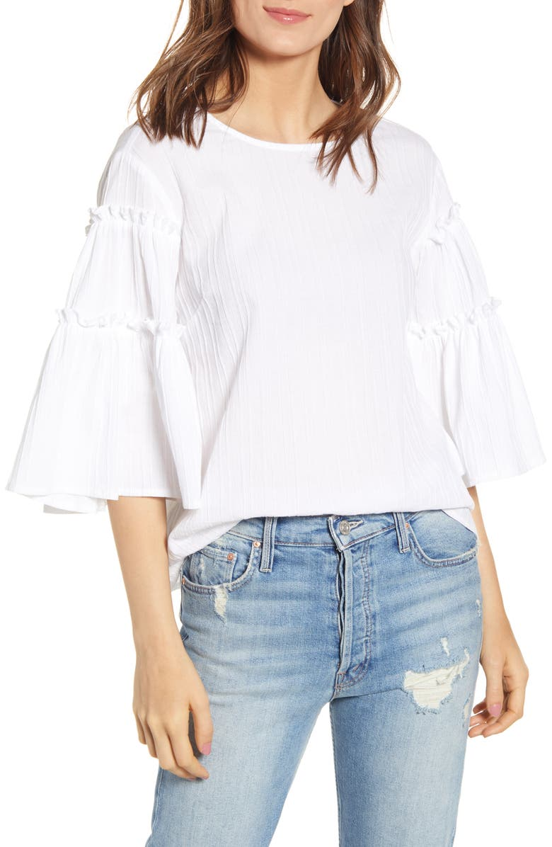 BISHOP + YOUNG Love in White Bell Sleeve Top, Main, color, WHITE