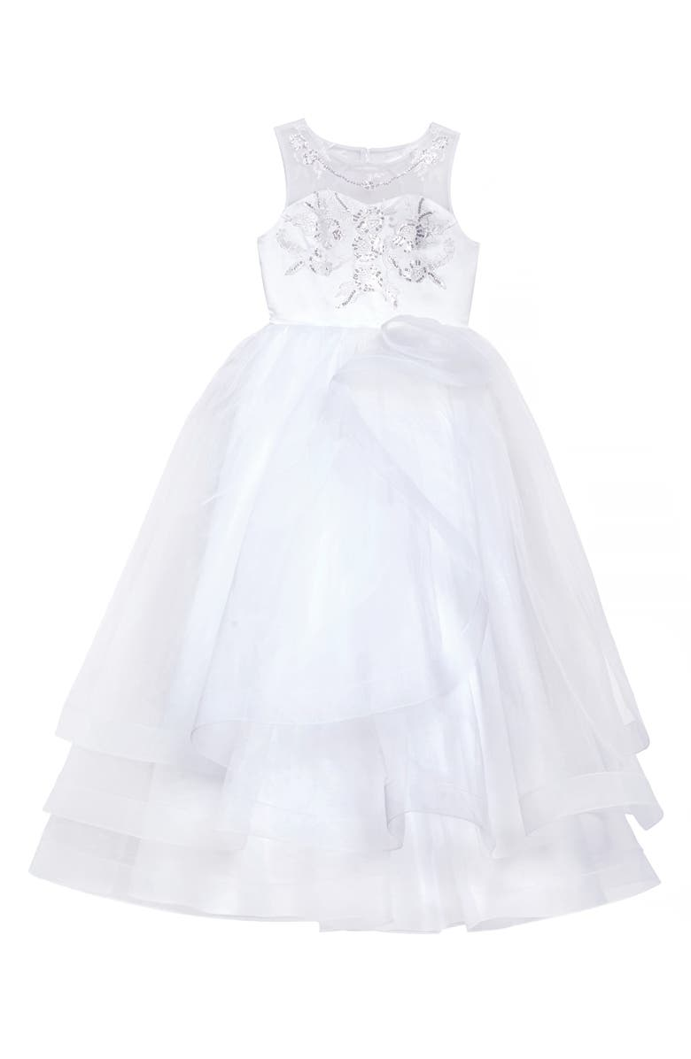 US ANGELS Embroidered Organza Communion Dress, Main, color, WHIE