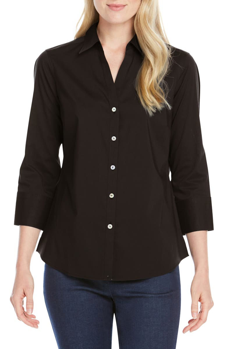 FOXCROFT Mary Button-Up Blouse, Main, color, BLACK