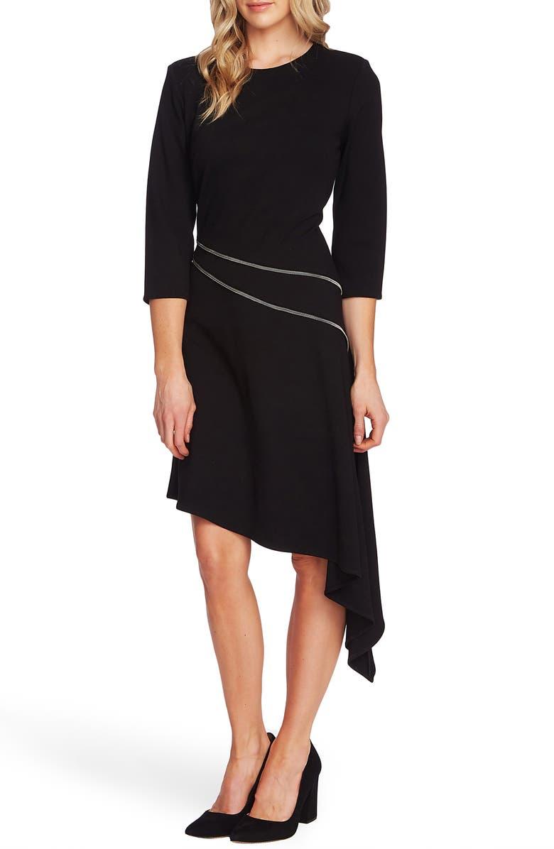 VINCE CAMUTO Asymmetrical Ponte Dress, Main, color, RICH BLACK
