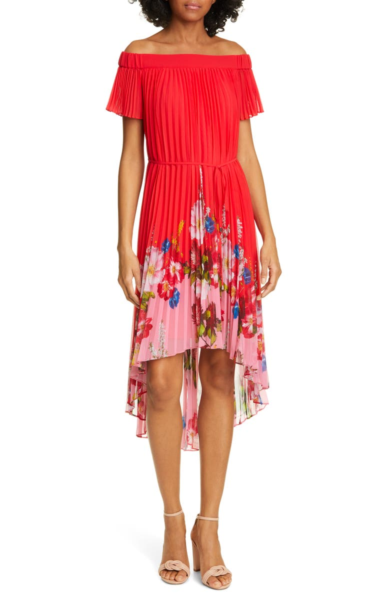 TED BAKER LONDON Berry Gillyy Pleat Off the Shoulder Dress, Main, color, 611