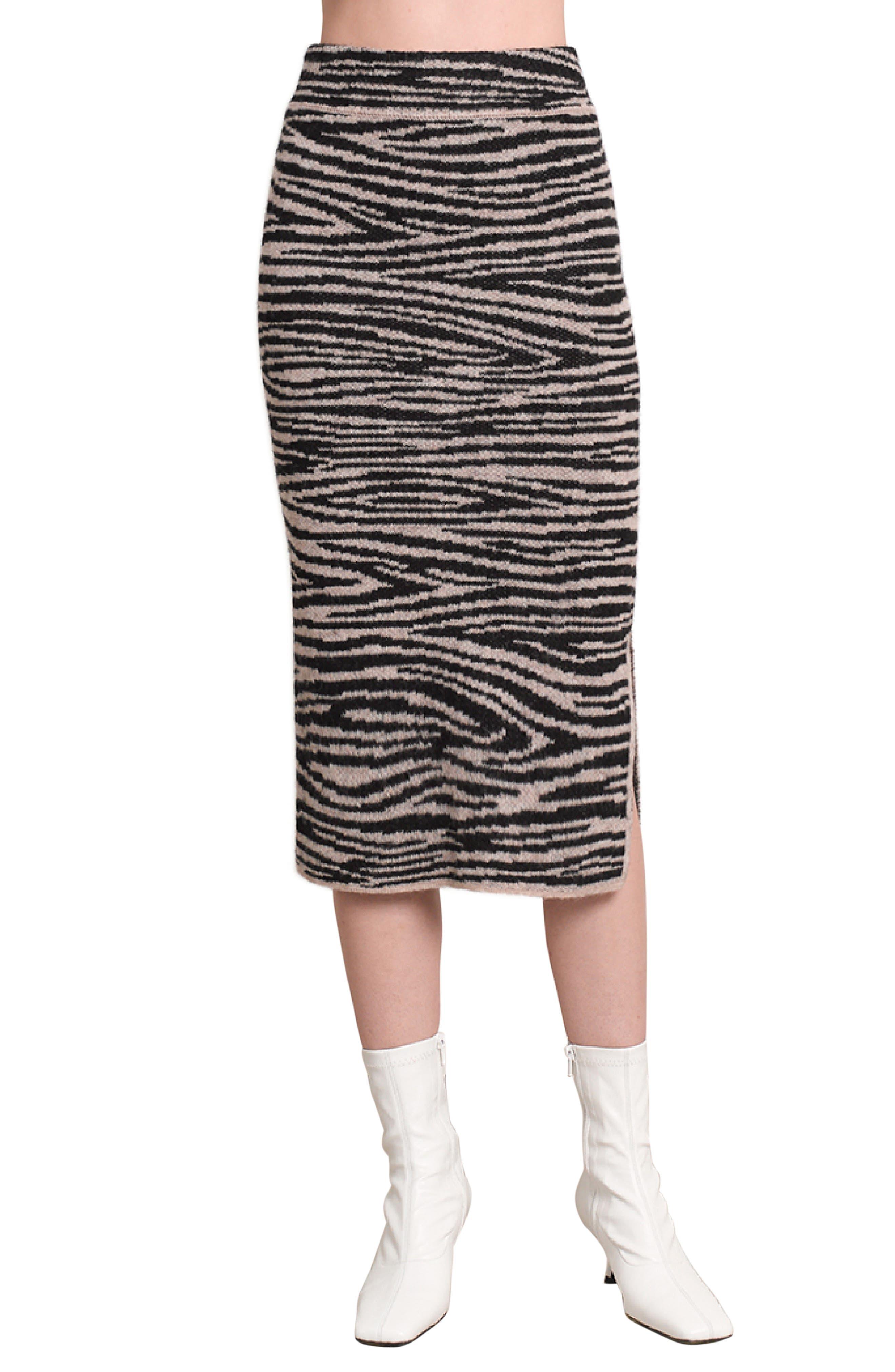 Eleven Six Juno Animal Print Alpaca & Merino Wool Blend Skirt