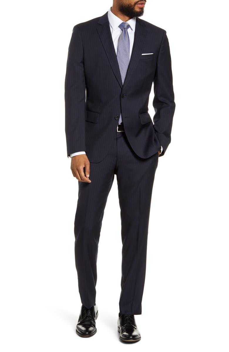 BOSS Huge/Genius Trim Fit Stripe Wool Suit, Main, color, NAVY STRIPE