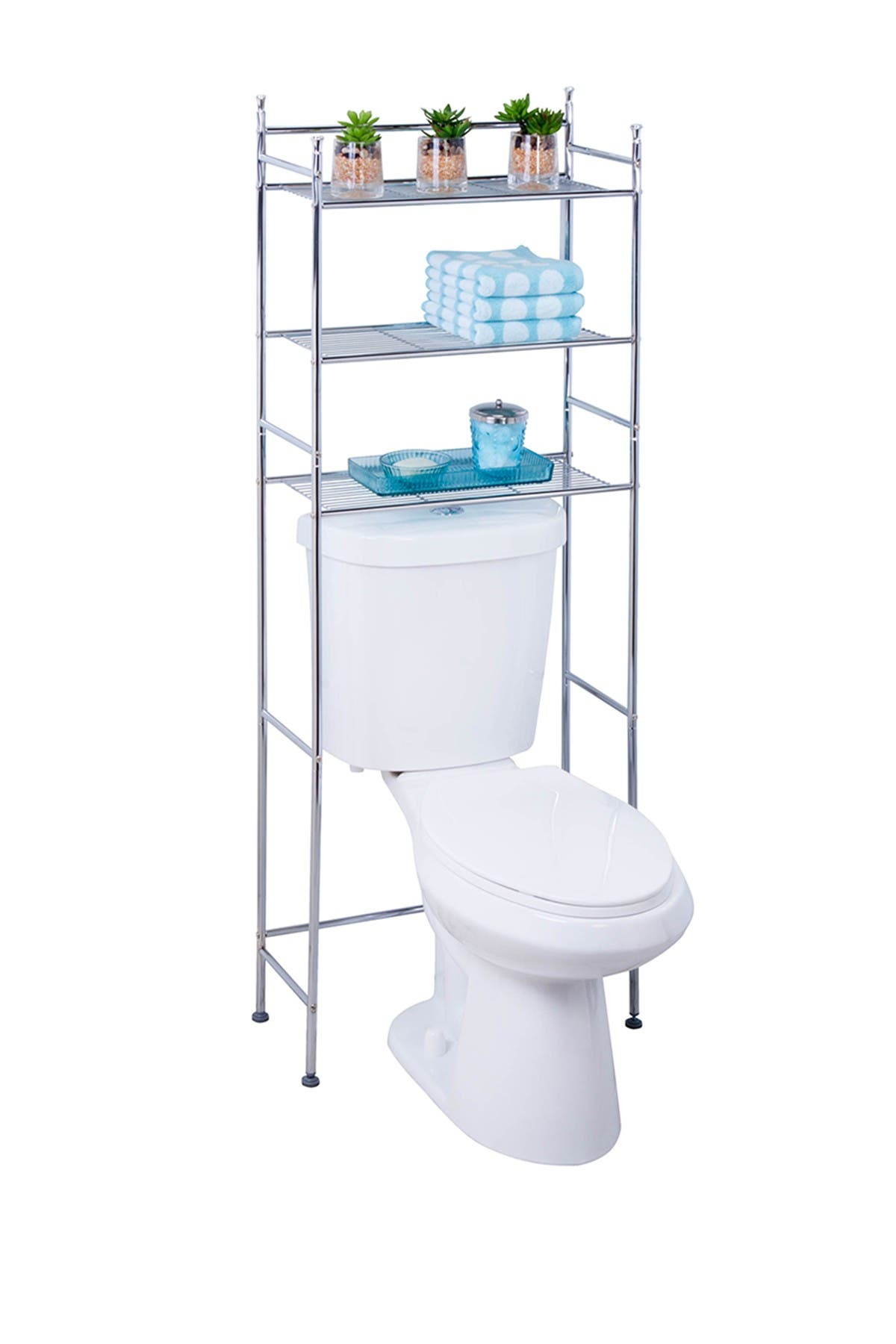 Image of Honey-Can-Do Chrome 3-Tier Over the Toilet Space Saver