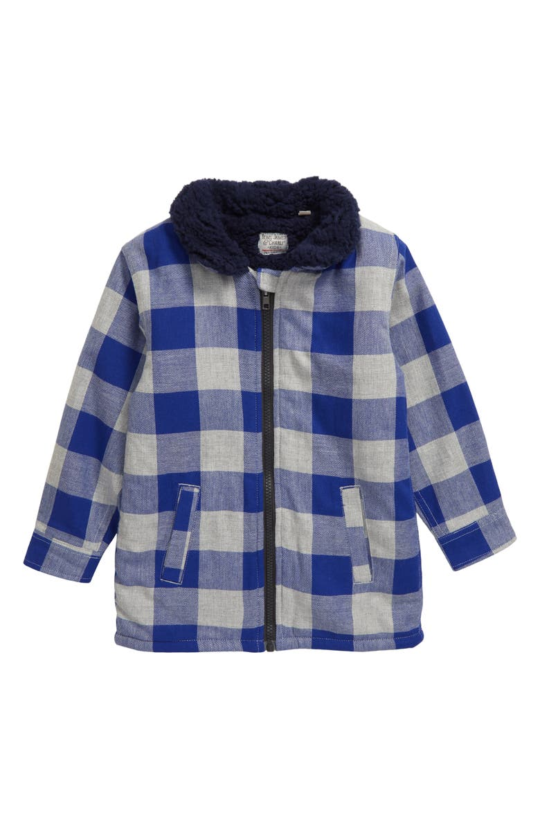 REBEL JAMES & CHARLI Fleece Lined Zip Flannel Shirt, Main, color, BLUE
