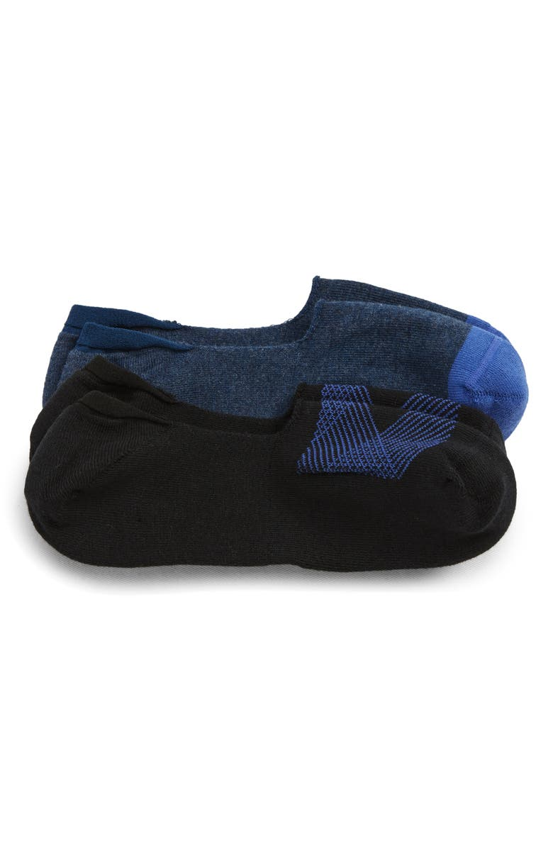 NORDSTROM MEN'S SHOP Geo Lines 2-Pack Liner Socks, Main, color, BLACK/ BLUE