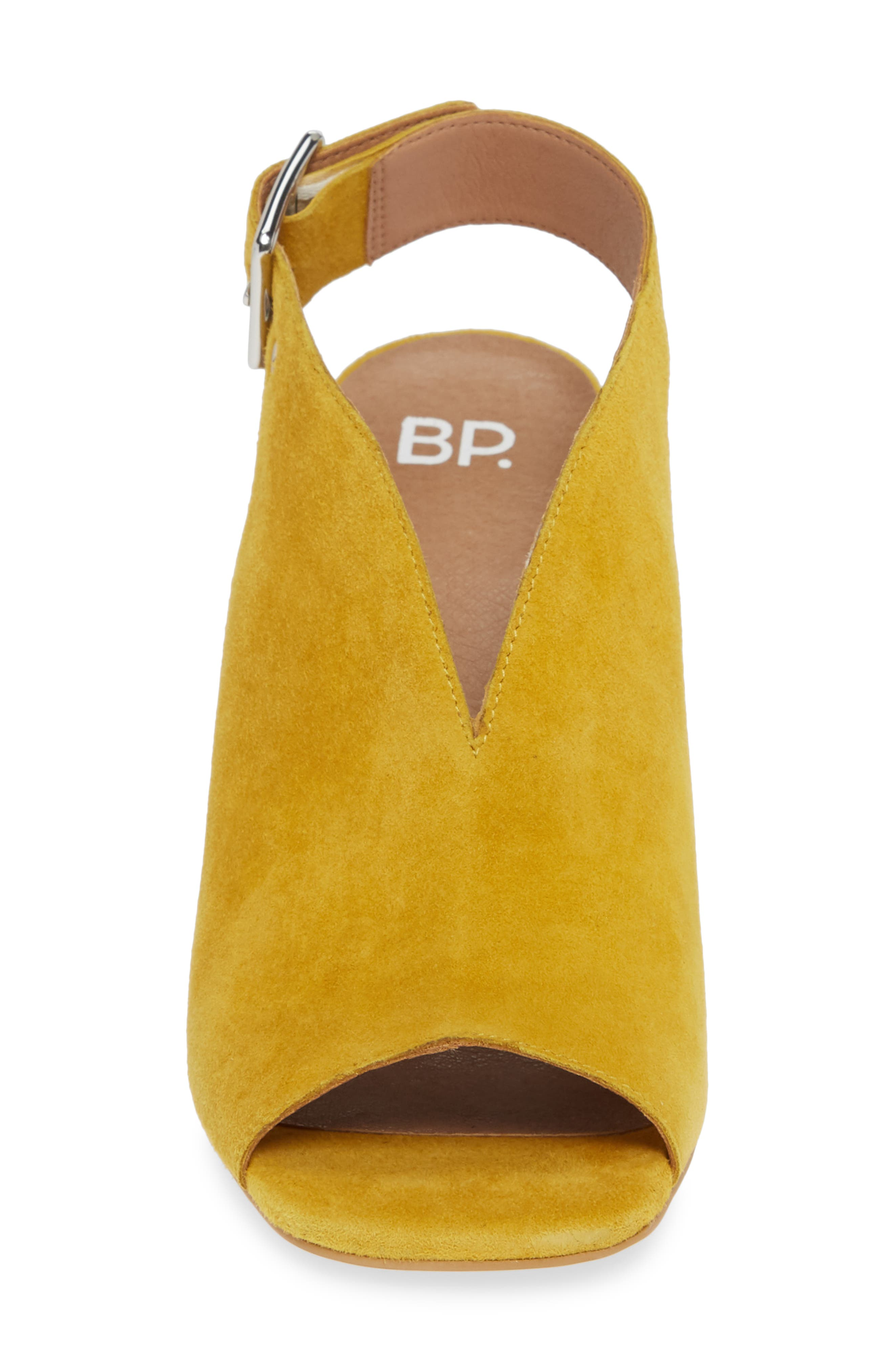 ,                             Block Heel Sandal,                             Alternate thumbnail 4, color,                             YELLOW SUEDE
