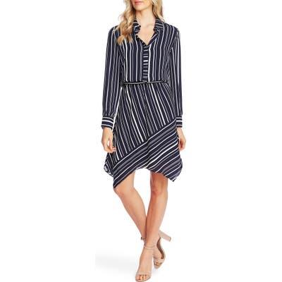 Vince Camuto Plain View Stripe Long Sleeve Asymmetrical Dress, Blue