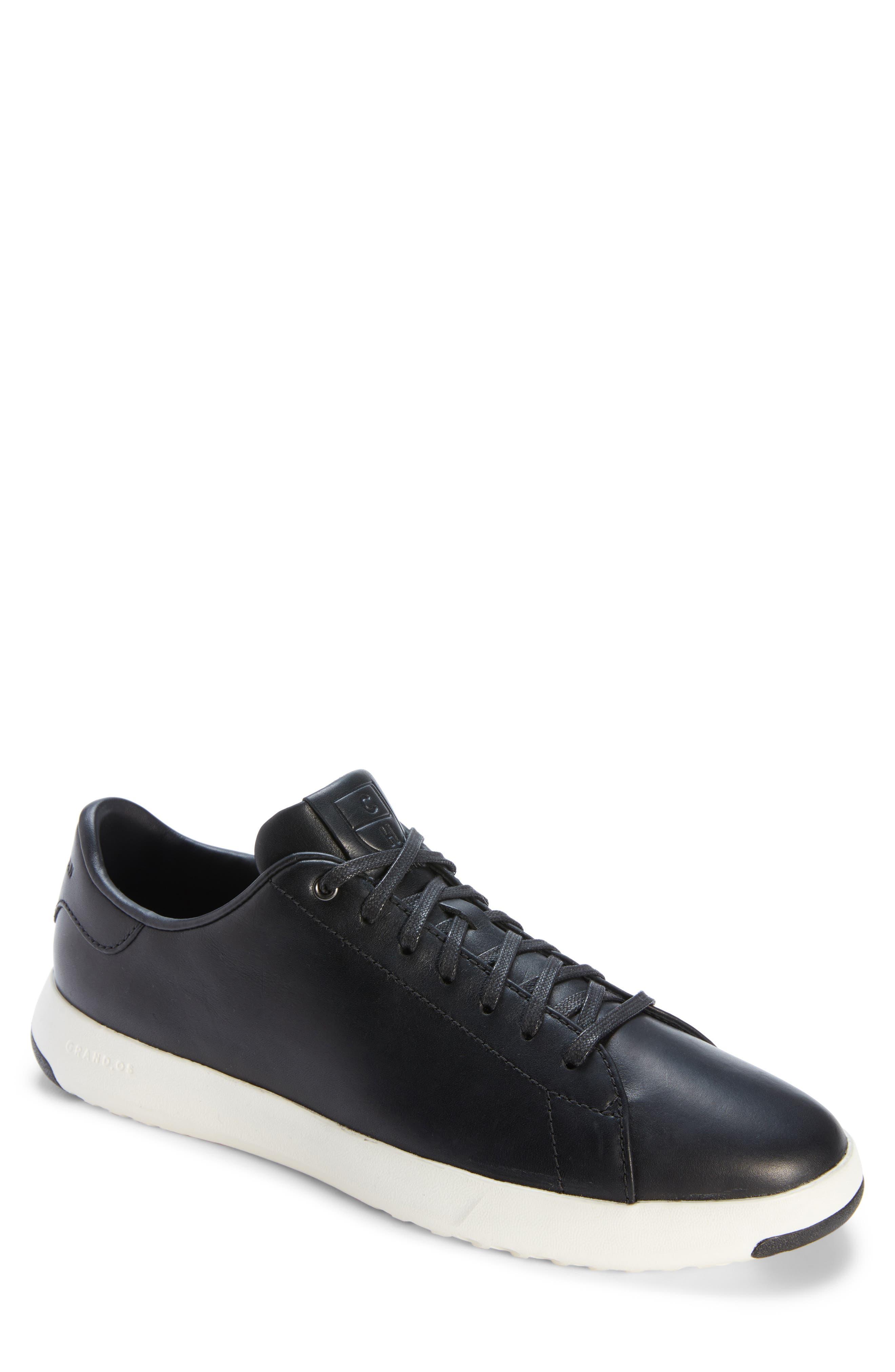 GrandPro Tennis Sneaker, Main, color, BLACK LEATHER