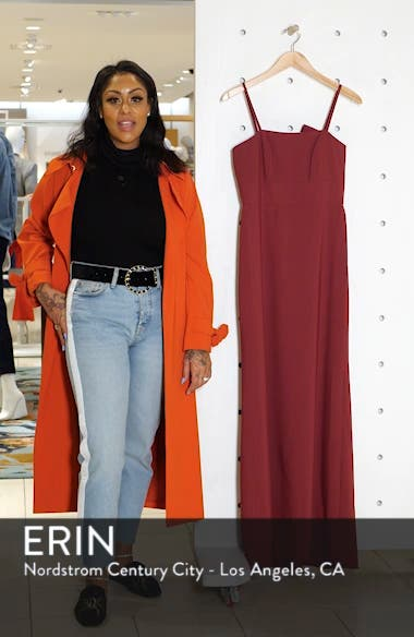 Bow Back Crepe Column Gown, sales video thumbnail