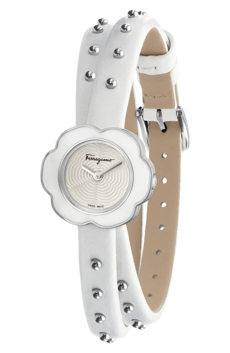 SALVATORE FERRAGAMO Fiore Leather Strap Watch, 24mm, Main, color, WHITE/ SILVER