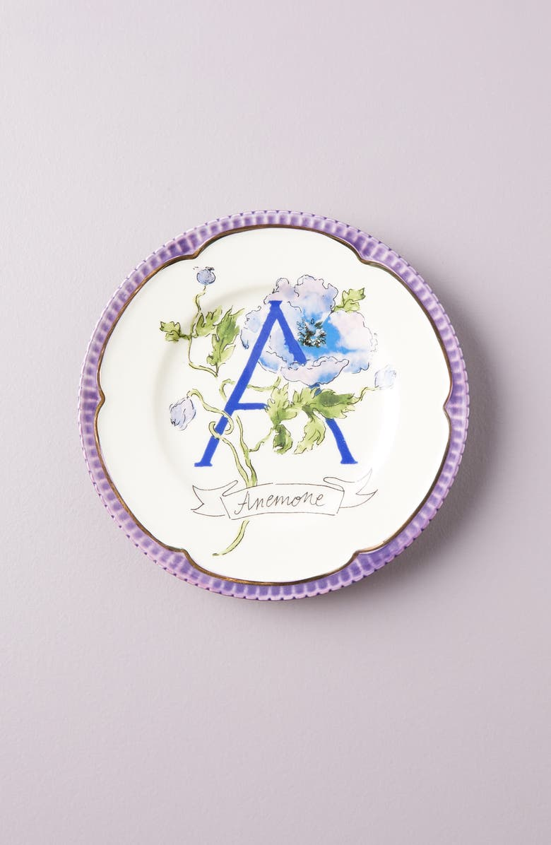 ANTHROPOLOGIE Eyewander Monogram Plate, Main, color, A