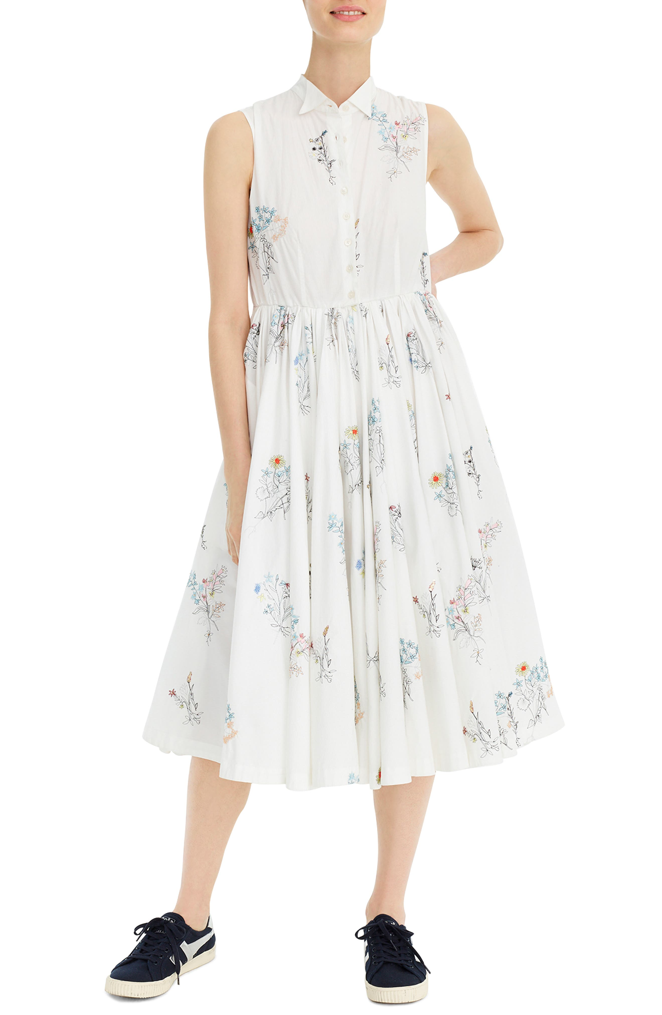 J.crew Sleeveless Embroidered Poplin Shirtdress, White